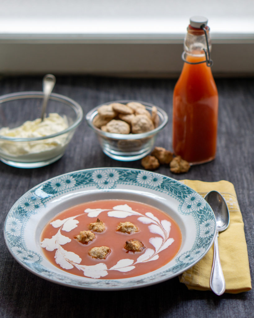 swedish rosehip soup, nyponsoppa, with almond macaroons