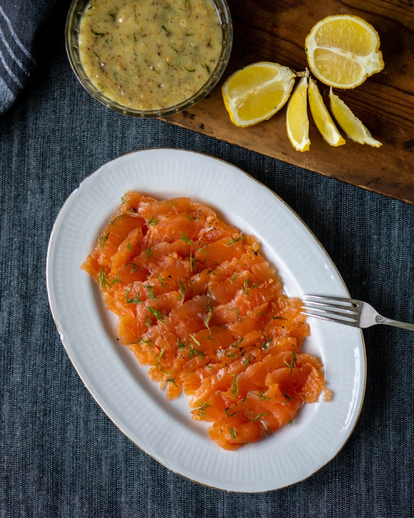 gravlax or gravad lax -- Swedish cured salmon with dill